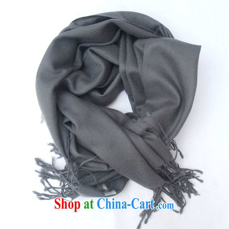 Ms. King pure wool scarf stylish solid-colored hot shawls, Beijing in the noble gray flat stream.