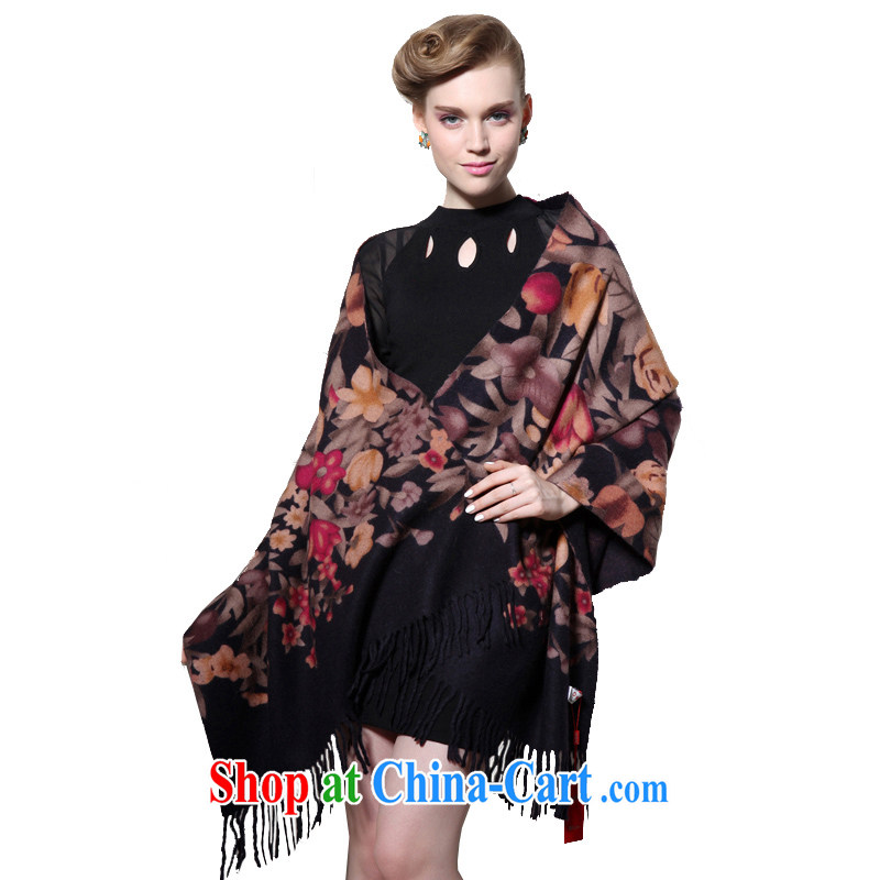 HANG SENG Yuen Cheung-pure wool thick long Cape air-conditioning shawl hanging women infected with (gift boxed) SF 3037 black