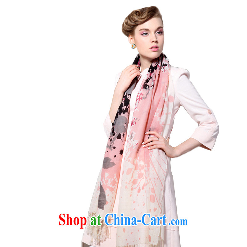 HANG SENG Yuen Cheung-long scarf shawl two ultra-long Spring Air Conditioning shawl, shawl gift _gift boxed_ 100_ pure cashmere wool texture scarf black and white powder