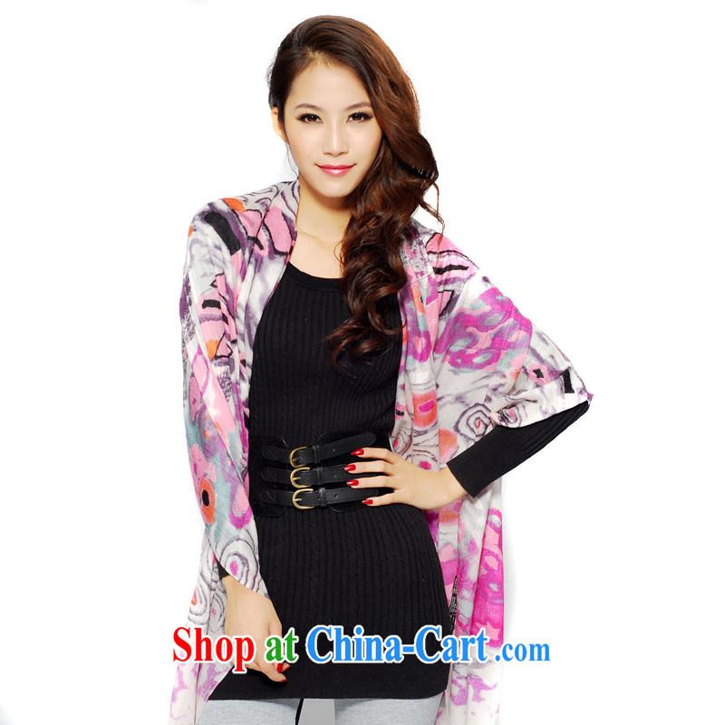 Kai, Mr. cool, fine art printing scarves 100 support single yarn zig-zag quality velvet scarf SWC 121 white pink 175 cm - 230 CM