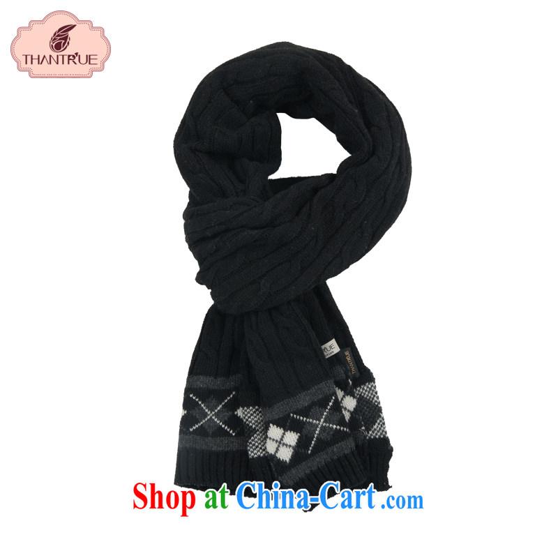 Thantrue really enjoy scarves men's winter long warm woolen scarf scarf W 046 black