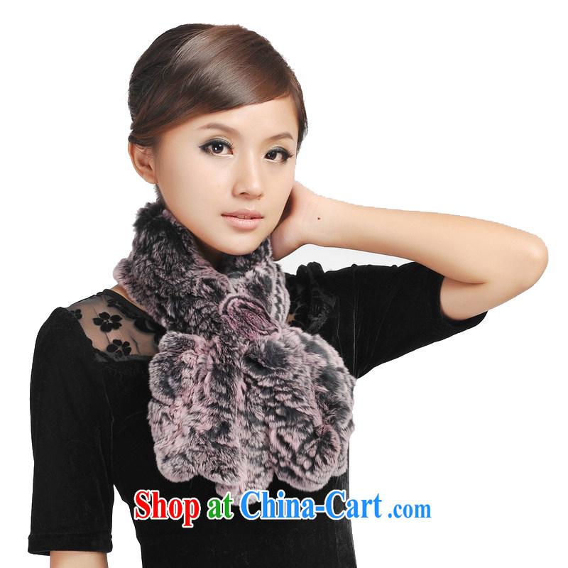 Today's story winter women high warm 100%, Rabbit fur scarf grass JD 148,038 pink