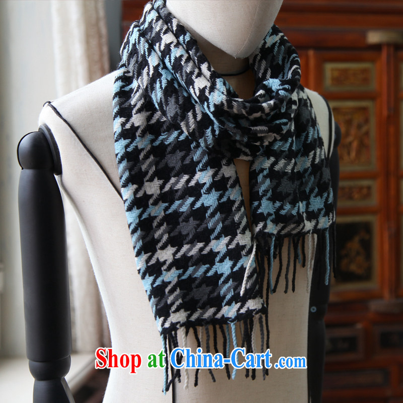 Kai, Mr. cool autumn and winter English style woolen scarves 100 is patterned woolen scarf multi-color the TTW 030 large black-and-white 1000 Blue Bird, 34 CM _ 180 CM