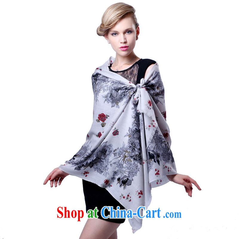 HANG SENG Yuen Cheung- 100% Australian Wool worsted 80 yarn zig-zag stamp long scarves (Boxset) cashmere texture light gray