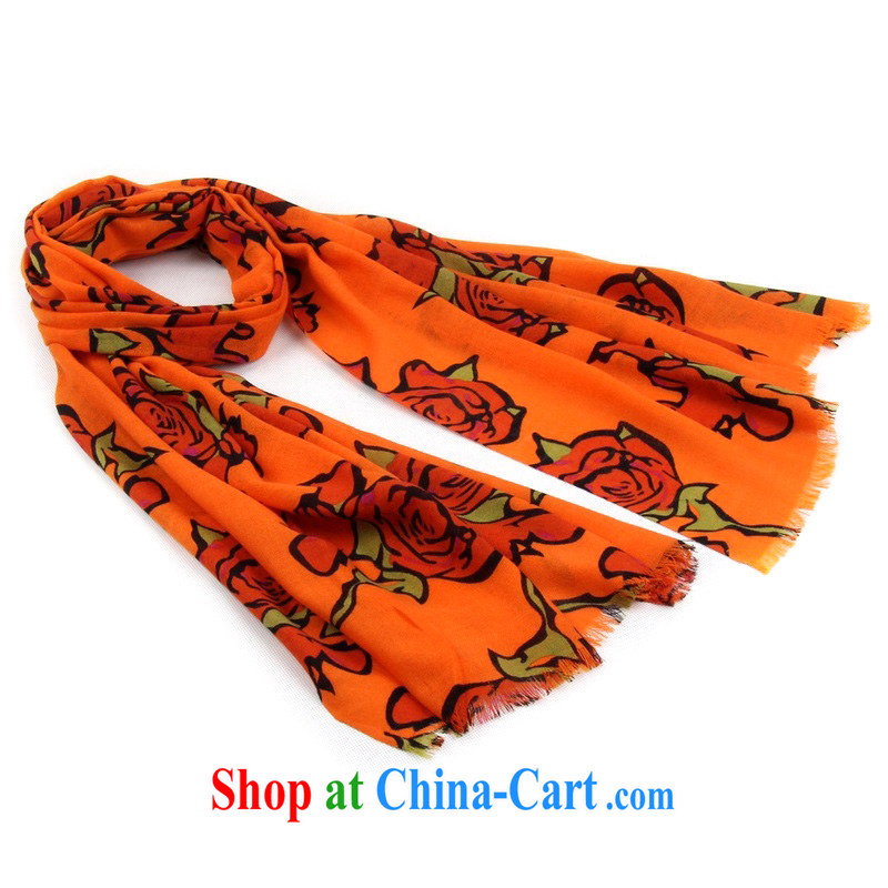 Today's story stylish girl, large rose stamp warm woolen scarf gift boxed 148,138 orange