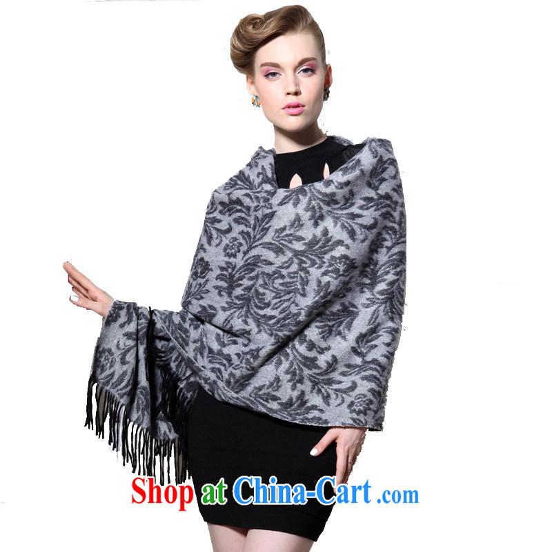 HANG SENG Yuen Cheung-pure wool thick and long, Ms. Cape Air Conditioning shawl Tang Cheuk-yan _gift boxed_ gray