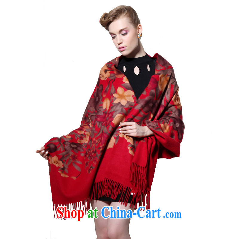 HANG SENG Yuen Cheung-pure wool double-sided thick hair hanging long Ms. shawl air-conditioning shawl _gift boxed_ Red