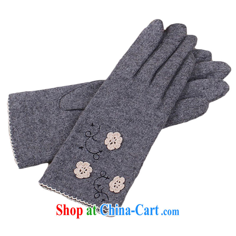 YORKS - warm winter and refined manually hook take small woman, advanced and wool female gloves water gray M