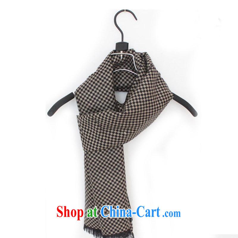 2014 new scarf men's emulation silk scarf WWJ 13,771 light coffee mini-grid are code
