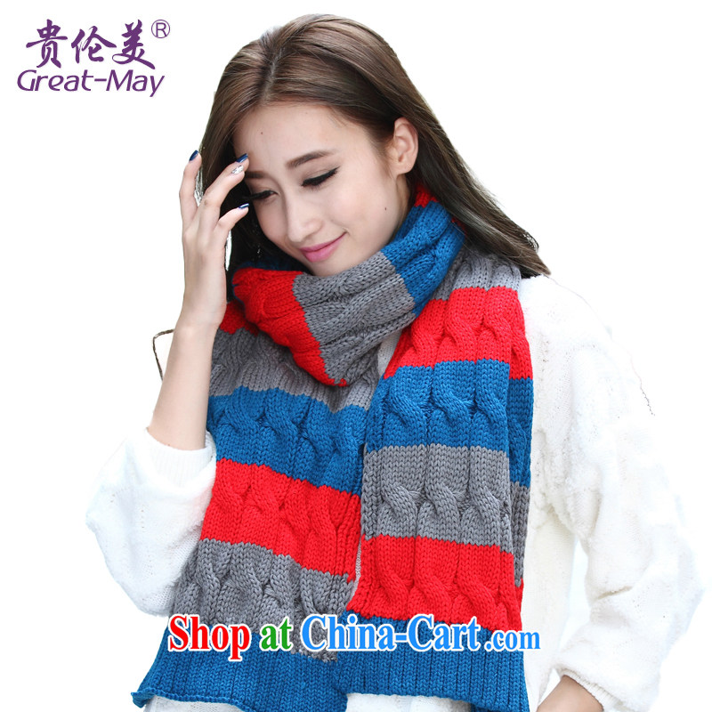 Autumn and the new scarf, Ms. winter fall Korean twist knocked color long thick knitting scarf warm knitted scarf WJ 0031 07 red and gray blue 170 CM - 230 CM