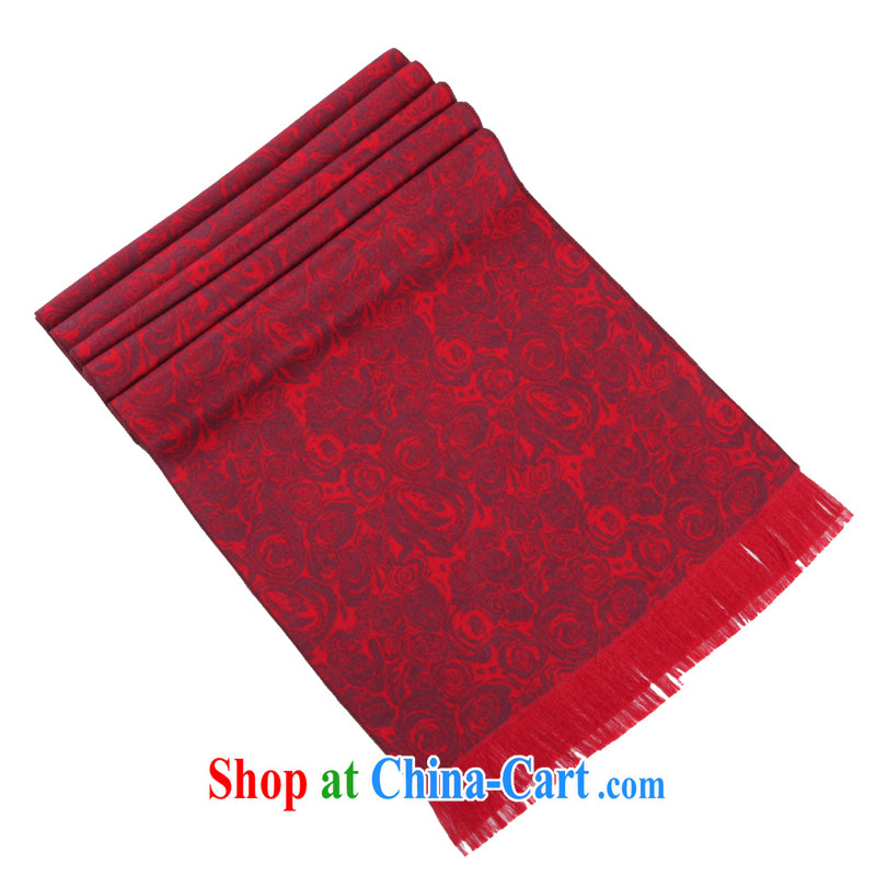 Factory jumbo benefit elderly Adam 15 autumn and winter new, red silk 100 a scarf peony flower middle-aged sauna silk scarves women GW 17 small Peony silk scarf red