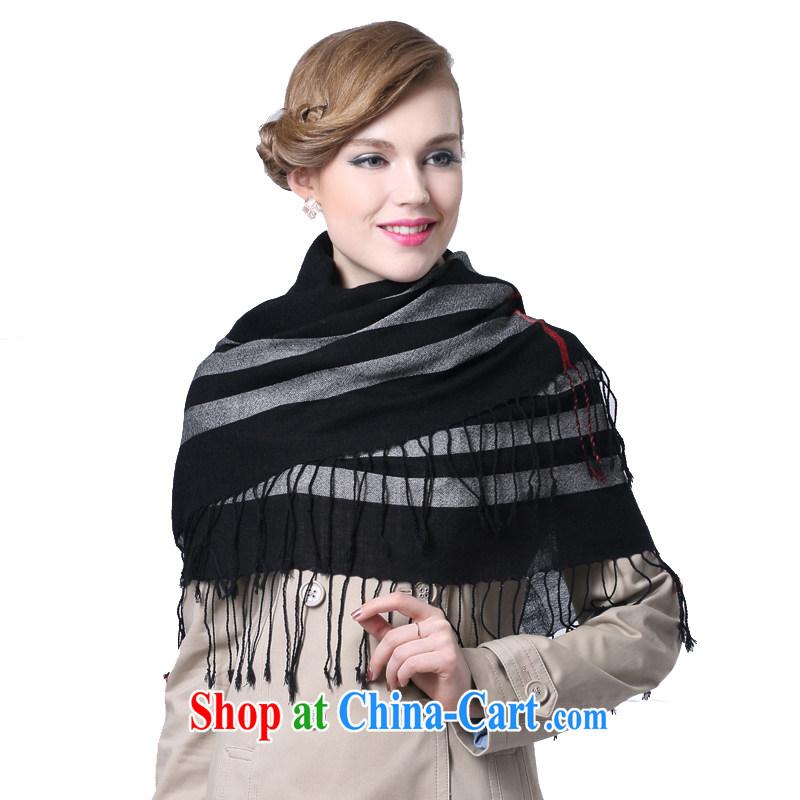 HANG SENG Yuen Cheung-fine woven pure wool tartan 3 corner scarf scarves _gift boxed_ black