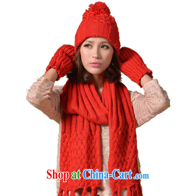 It style _Glovin_ winter new women knitted mats take thick hat scarf gloves 3-Piece red