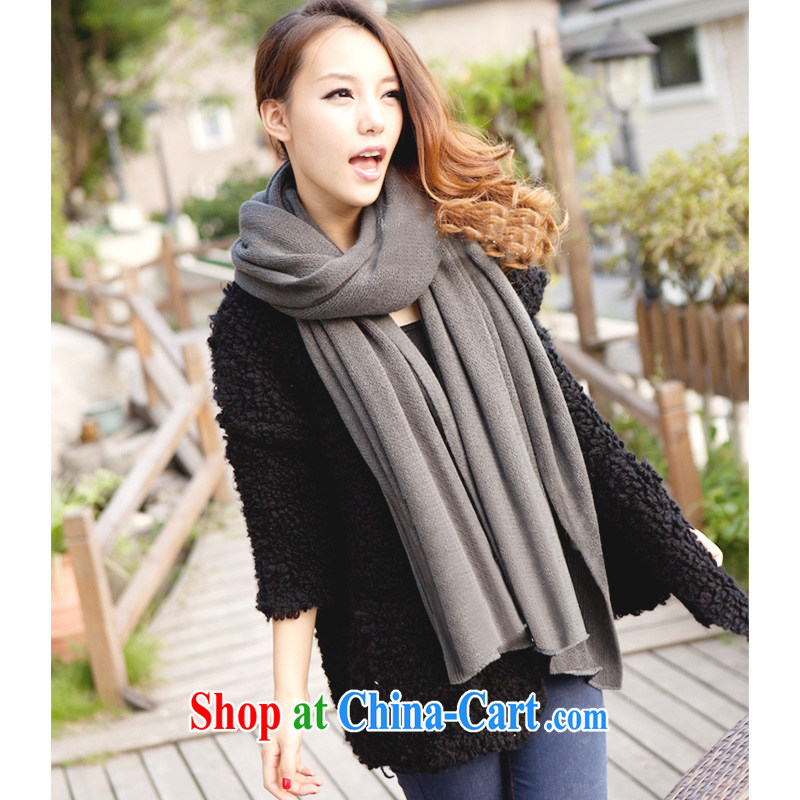 Compilations CHEGEE fall and winter new knitting scarf with wool thick warm men and women pure color knitting scarves and shawls unisex couples, gray
