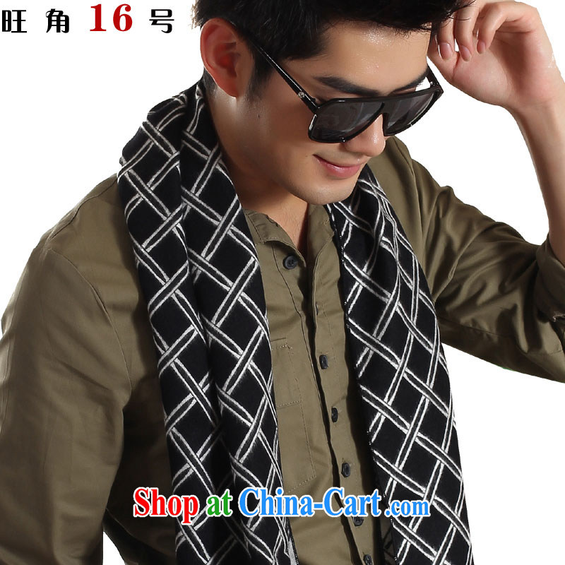 Mong Kok 16 warm men's wood pulp cotton is black-and-white checkered scarves men's scarves 178 - _1 white-on-black, Mitsubishi.