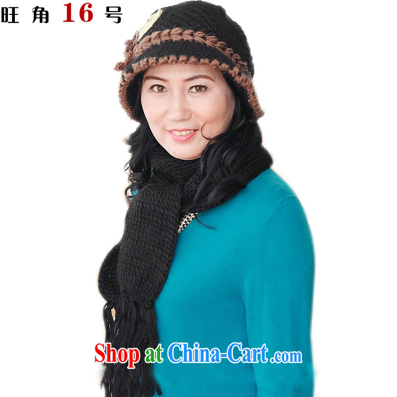 Mong Kok No. 16 autumn and winter flower pots cap kit warm 3 Ms. Yip spent crocheting older Cap Black