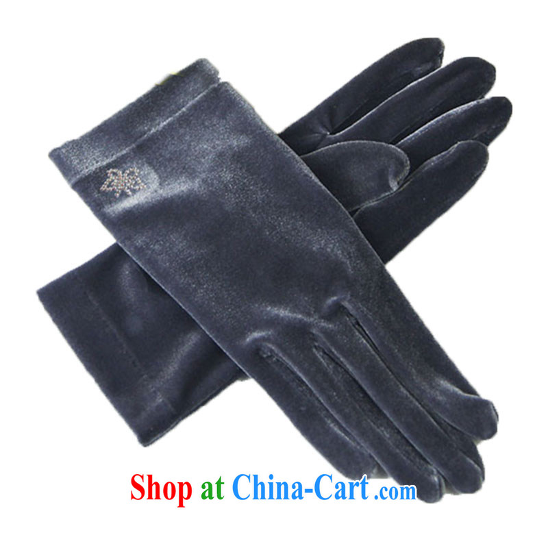 YORKS - warm winter elegant and sophisticated hot figure wool evening female gloves water gray M