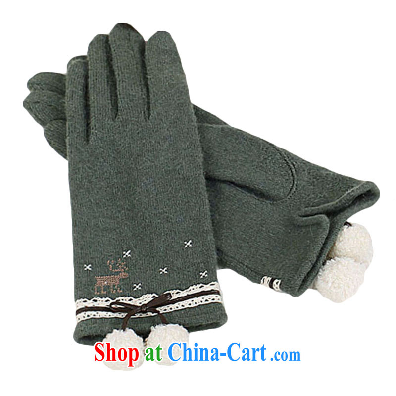 YORKS - warm winter lovely lint-free ball reindeer embroidery, advanced and wool female gloves green M