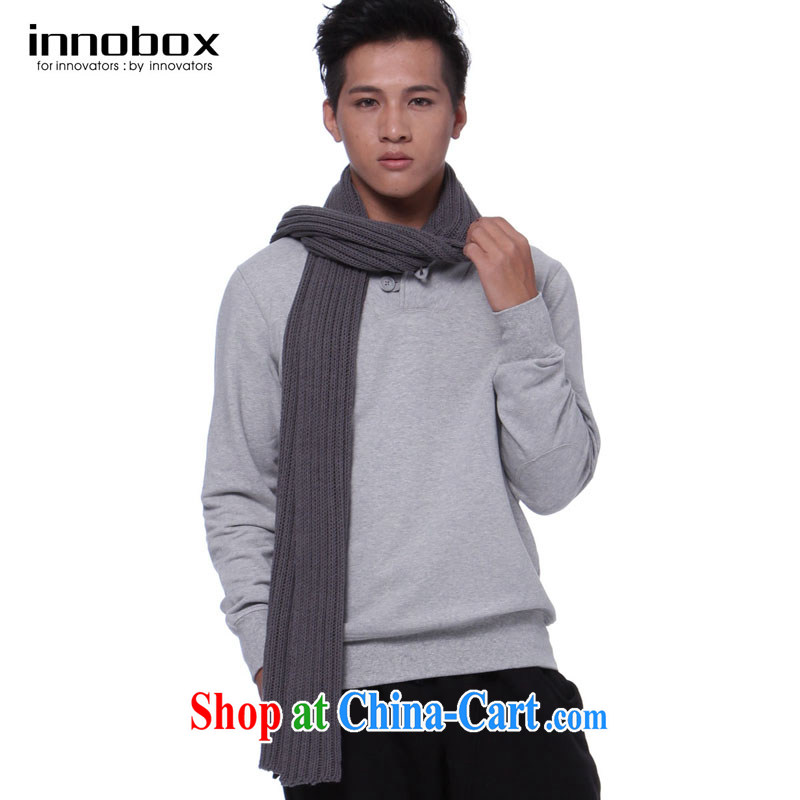 innobox new fall/winter men's knitted scarf England men's solid color scarf College wind long shawl 860 gray are code