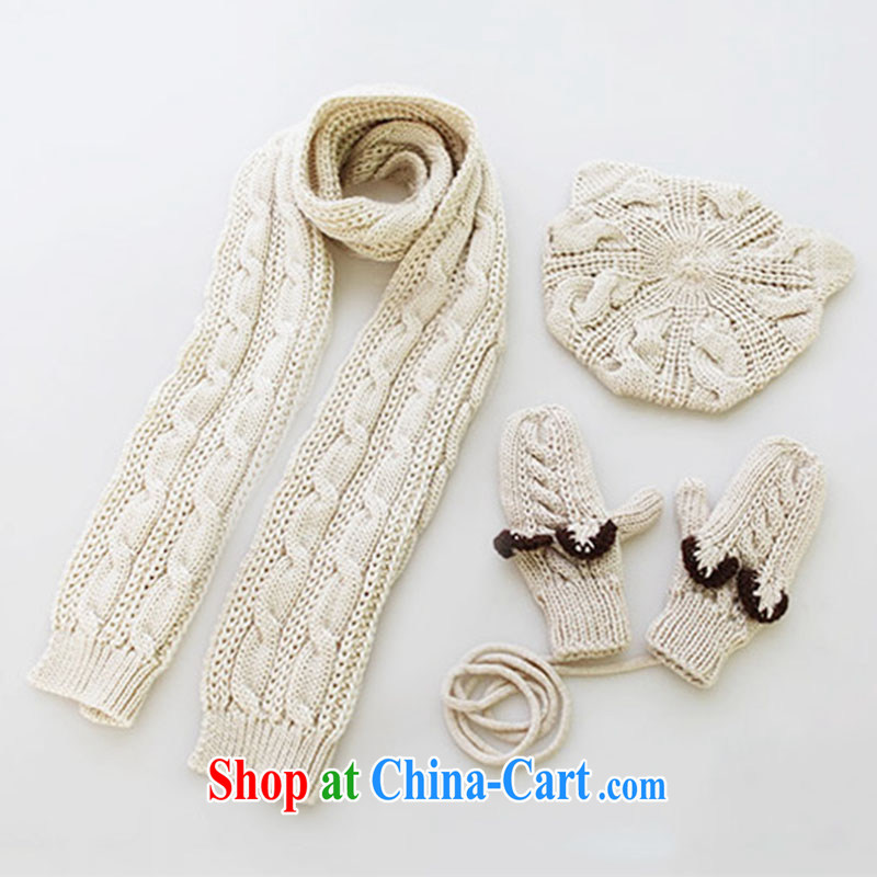 End PSstyle hot, winter hat scarf gloves 3-Piece Funky Cat 3 piece beige