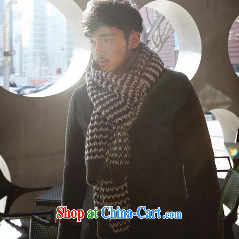2014 new knitting big men's scarves autumn and winter style MWJ 131,313 black and white length (CM) 135 - 175 CM