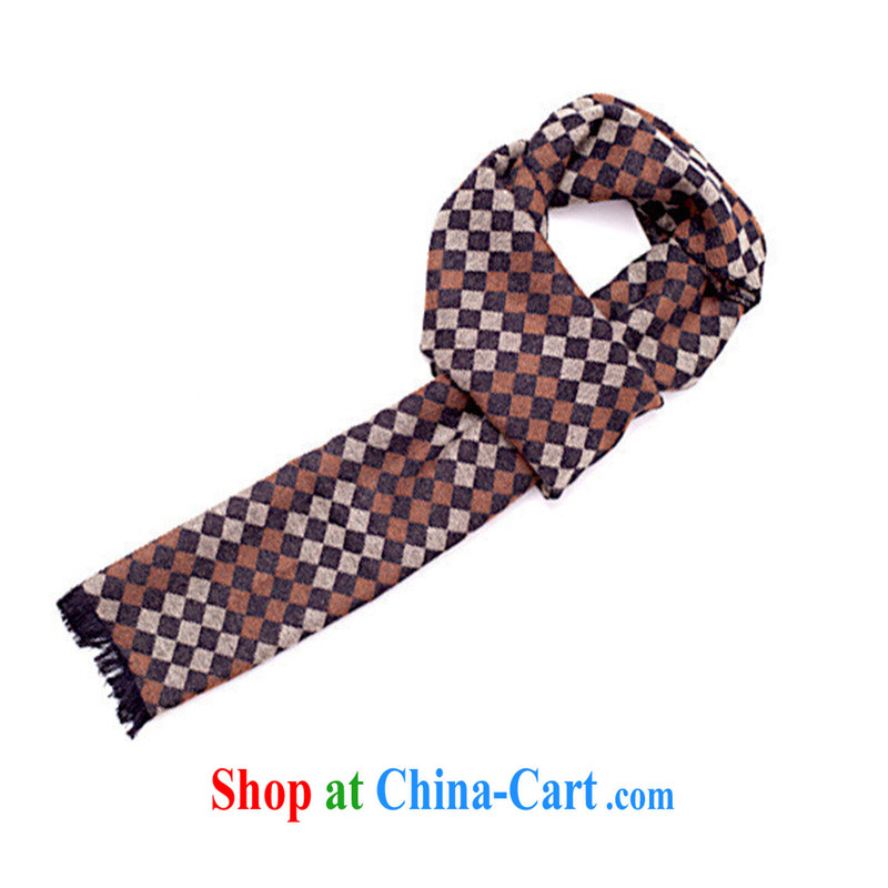 2014 autumn and winter New Men's scarves emulation silk scarf tartan scarf MWJ 131,329 coffee length (CM) 180 * 30