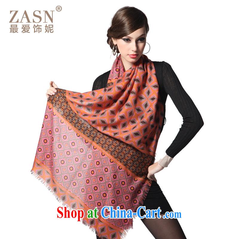 The AE Connie ZASN warm winter geometry 100_ pure wool scarf shawl female CY 144 red long silk scarf