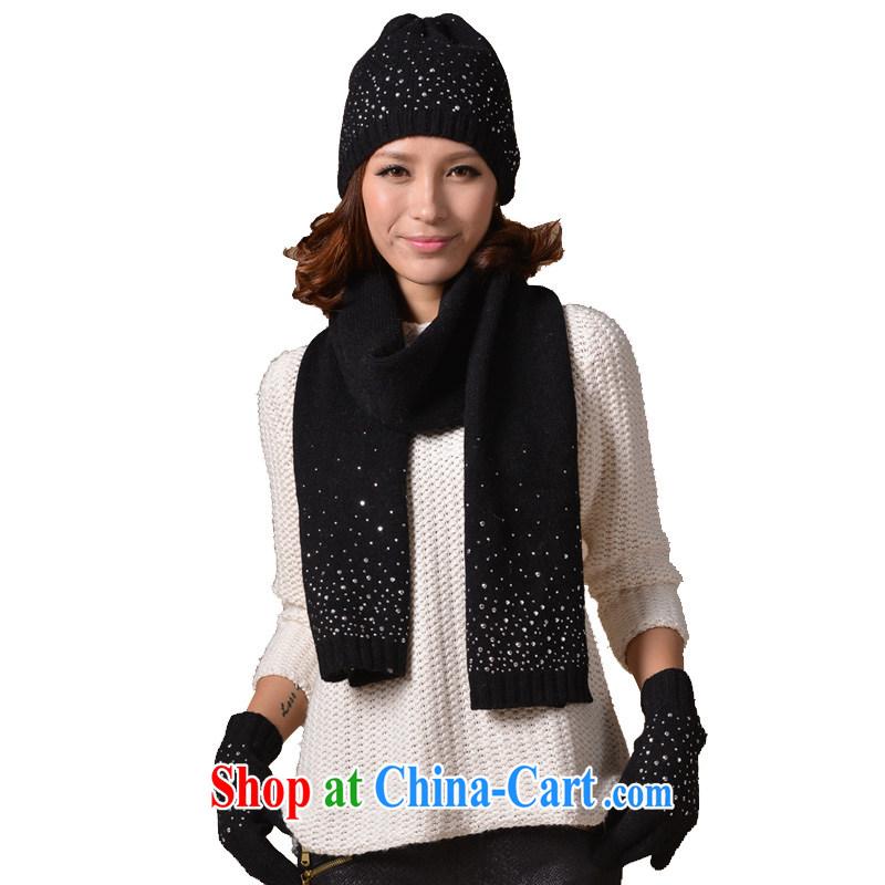 It style (Glovin) winter new female Korean hot drilling wool hats scarves gloves 3 piece black