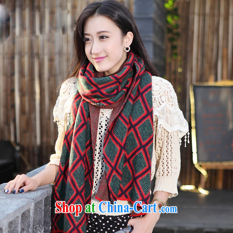 Christmas Carnival season cards from US and South Korean version warm knitted tartan scarf, fall-winter knitting scarf female Korean winter green