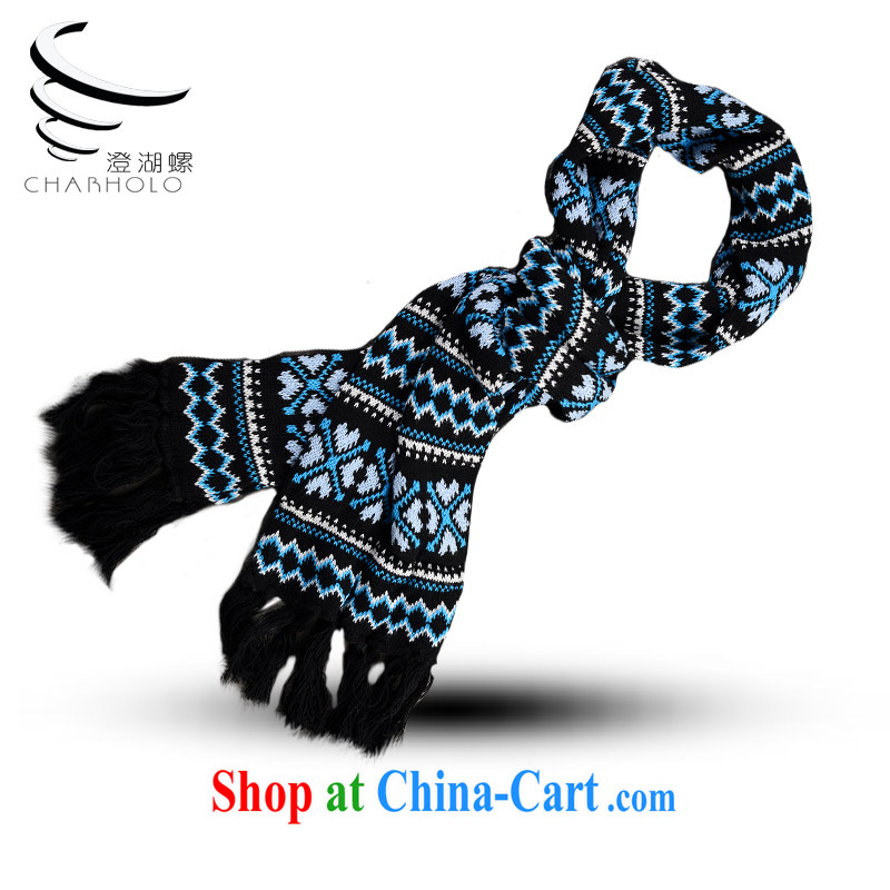Food screw 2014 winter new Korean knitting snowflake knitting couples long scarf package mail Blue heart snowflake