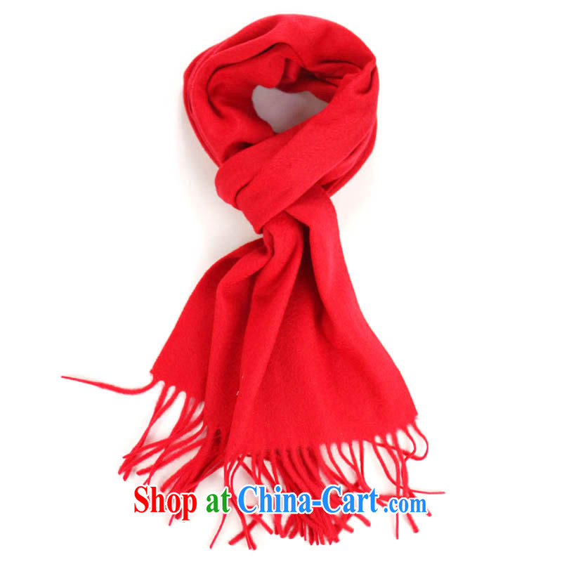 HANG SENG Yuen Cheung-in china red cashmere blend thick warm scarf red 160/90