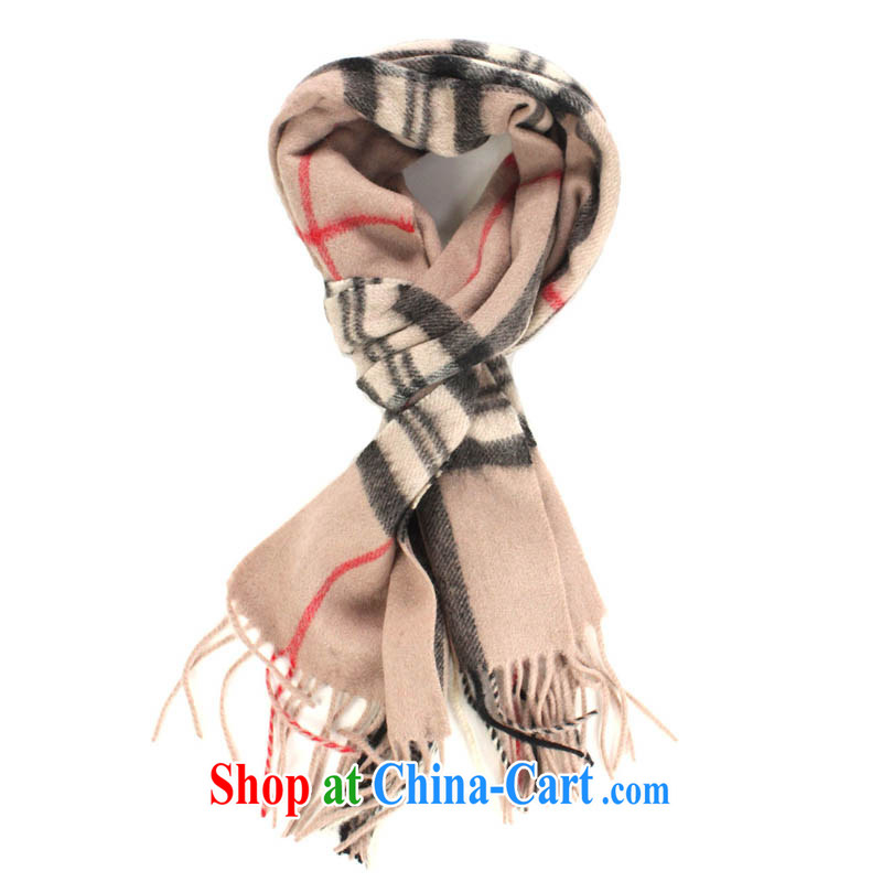 HANG SENG Yuen Cheung-in classic dark and plaid plain wool thick warm scarf light the gray 160/90