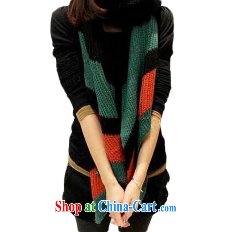 Hung-chun Korean version 100 ground knitting knitting scarf ultra-long ultra-warm Korean Wind autumn winter couples scarf black + green + orange 215 _ 40 CM