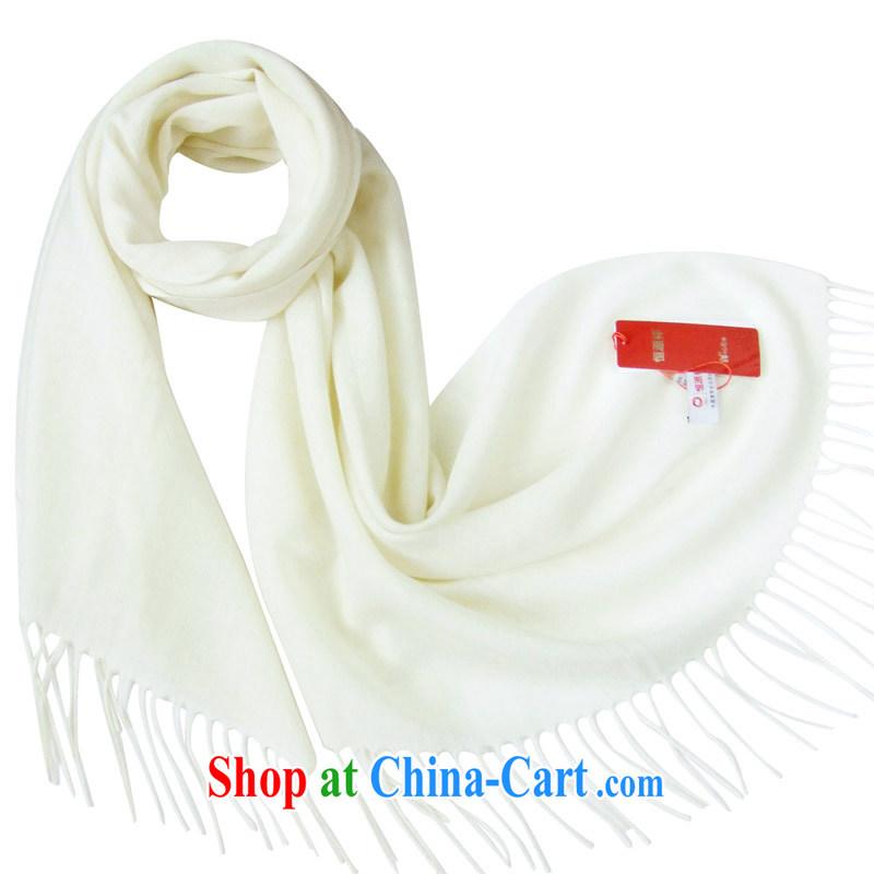 HANG SENG Yuen Cheung-fine woven pure wool long scarf shawl beautiful gift boxed DZ - SF 314 ivory white