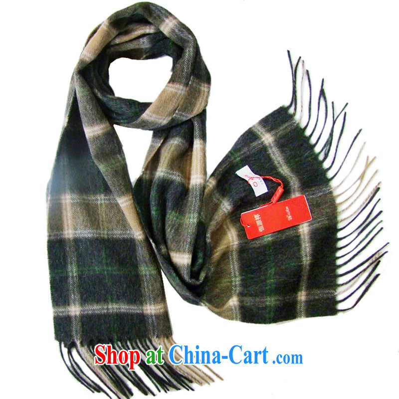 HANG SENG Yuen Cheung-pure wool men's scarves gift beautiful gift boxed DZ - SF J 55 5 green coffee-colored green tea color
