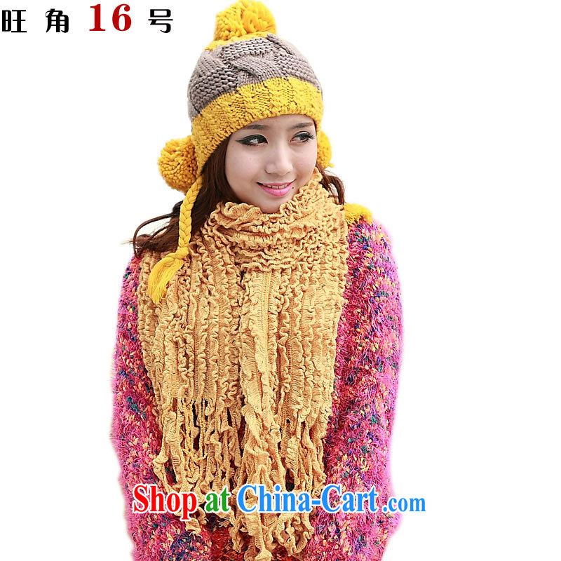 Mong Kok 16 warm winter scarf hat 2 piece set with 3 ball pigtail + fungus towel yellow
