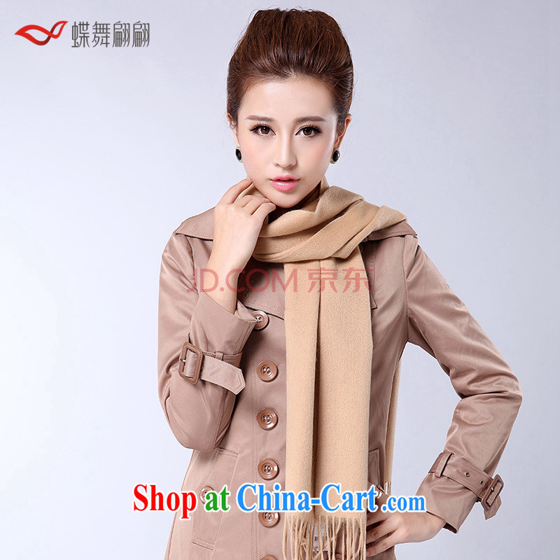 Butterfly Dance linger woolen scarf Girls fall_winter woolen shawl scarf with two new thick Long_solid color lamb wool beige