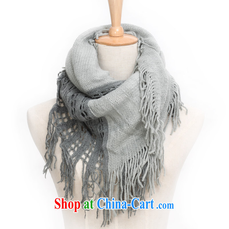 Cards from the dual-color large scarf scarves in winter of knitting wool scarf twist knitted scarf WJ 003 gray