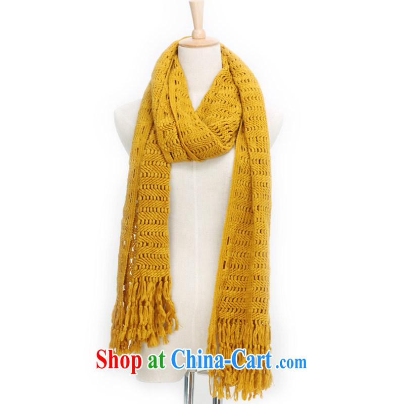 Close the card check take plush scarf, winter wool knitting scarf twist knitting scarf WJ 004 yellow