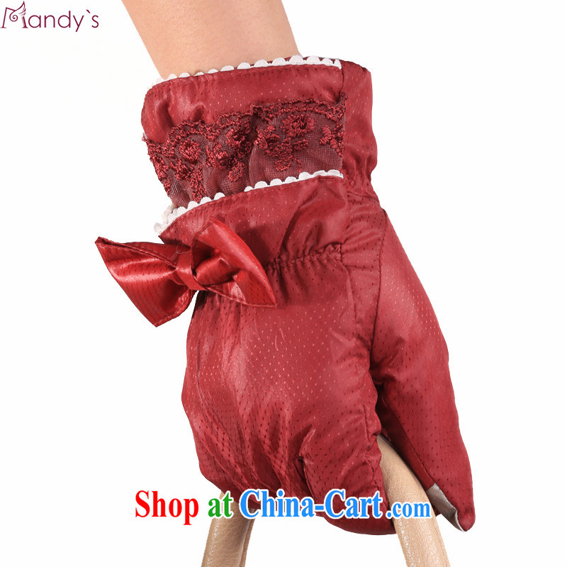 Cayman _Mandy ' s_ winter thick warm lovely lace bow tie, feather cotton gloves are red code