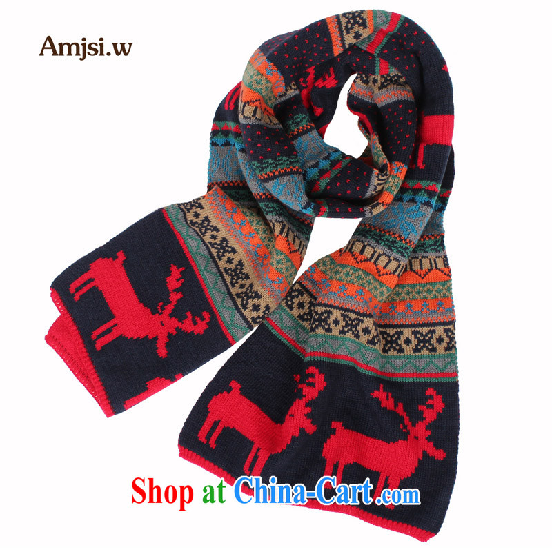 The princess Jess, temperature warm winter couples men and women knitted scarf Christmas deer pattern wool and widen her scarf red are code