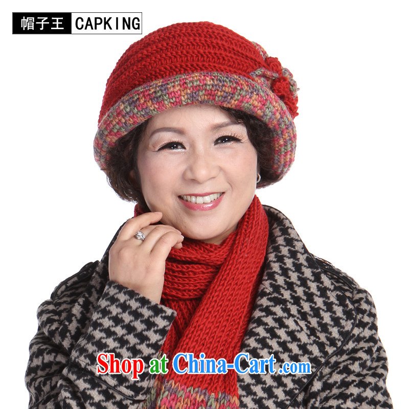 old hat scarf two kits, winter in good old wool hat scarf set her cap hat fall and winter season, Ms. elderly women hat autumn red, code, CAPKING, shopping on the Internet