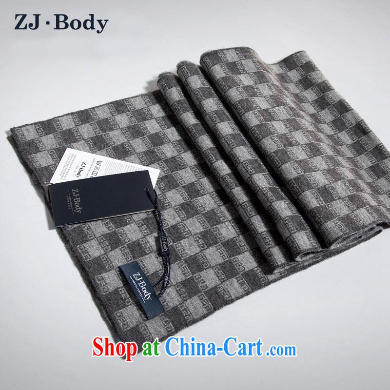 ZJ - Body 2013 new autumn and winter men gift business and leisure fleece warm scarf tartan scarf male W 088 gray