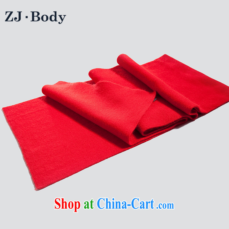 ZJ - Body winter new gift winter men business solid color thick rabbit hair wool scarf long scarf W 080 red