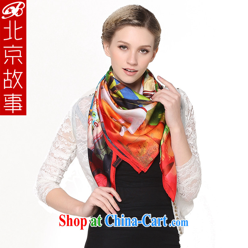 Beijing story dos santos Ms. silk shawl scarf silk scarf digital painted silk scarf and classy blue 103,005