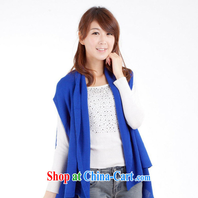 New ultra 100 ground fall and winter, long cloak a solid color knitting sweater shawl jacket knitting cardigan WPJ 13,884 Po blue length (CM) 100 - 135 C