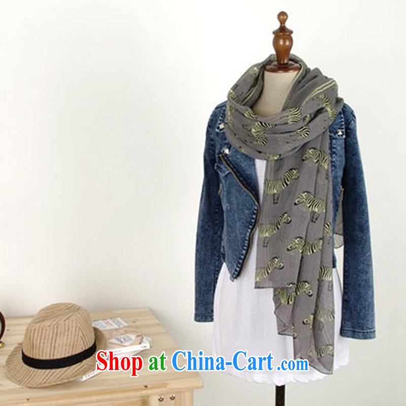 Korean small zebra scarf Korean fashion cotton Ms. Yau Ma Tei scarf Bali yarn long shawl WSJ 13,997 gray length _CM_ 110 _ 180