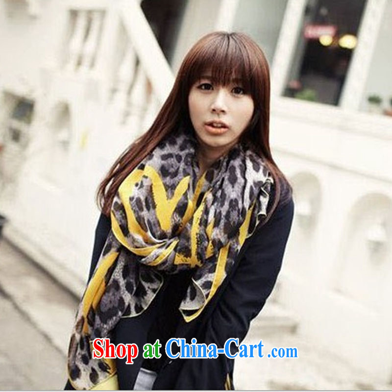 fall and winter new love Leopard scarf peach heart scarf shawl two ultra-long silk scarf Europe wind WSJ 131,001 yellow length _CM_ 80 _ 180