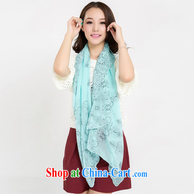 Waves and spend the Korean stars with lint-free cloth, snow woven silk scarf silk scarf chain carriage pattern scarf snow woven sunscreen shawl chain carriage pattern red 122 blue and white porcelain light green