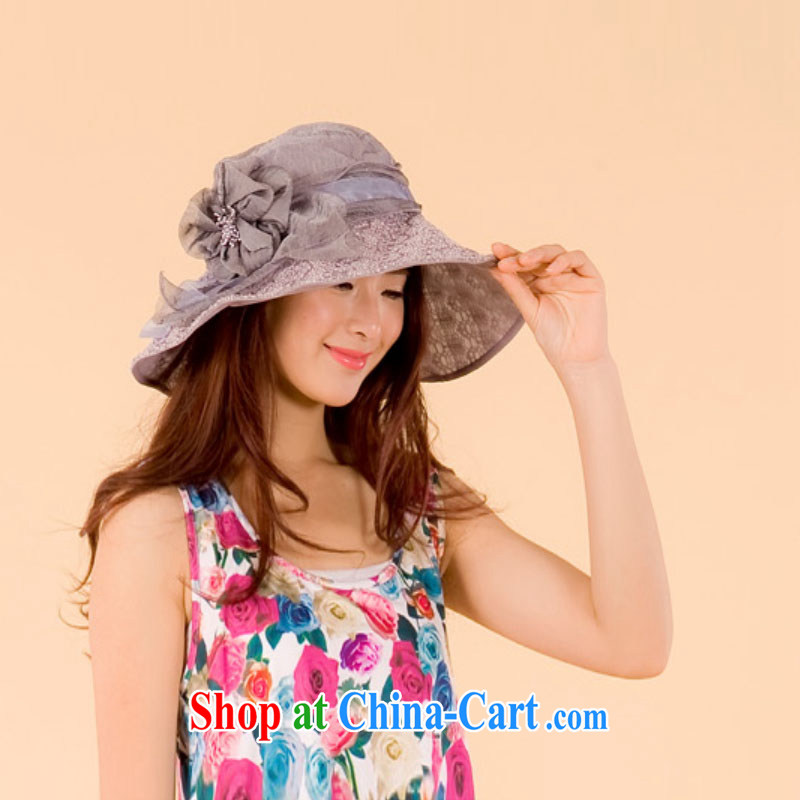 Refreshing 2015 sun hat beach sun hat children can fold strengthening anti-ultraviolet flowers sun hat sweet lovely beach cap gray, Buckingham Palace Fei-yin, shopping on the Internet